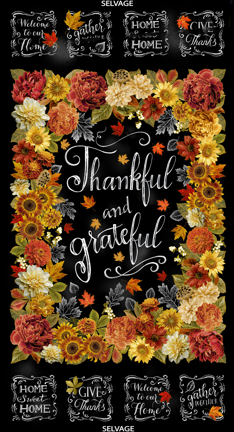 Thankful and Grateful Thanksgiving Panel by Timeless Treasures