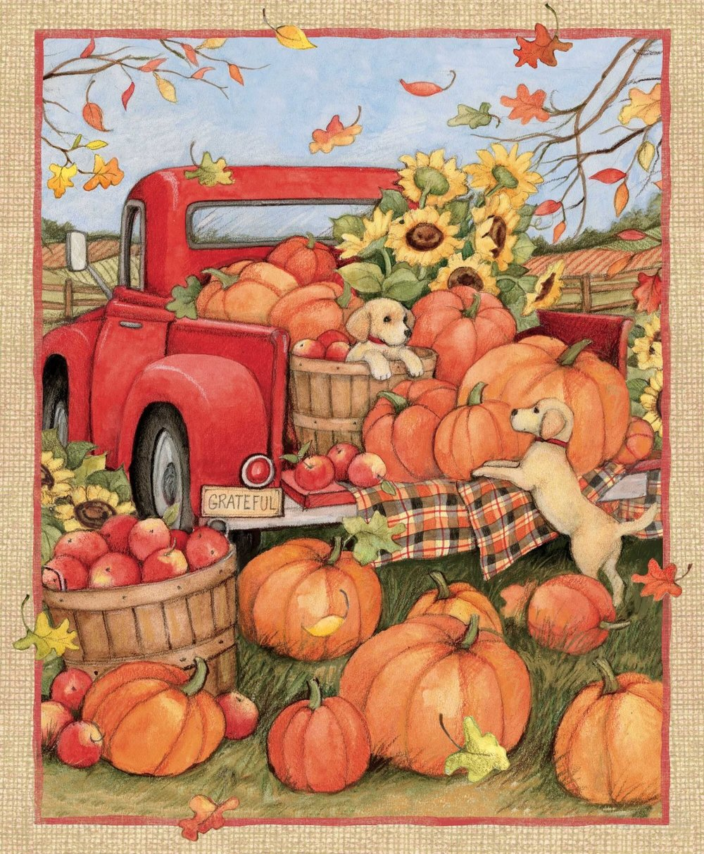 Red Truck with Harvest Pumpkins and Puppies by Susan Wingate for Springs
