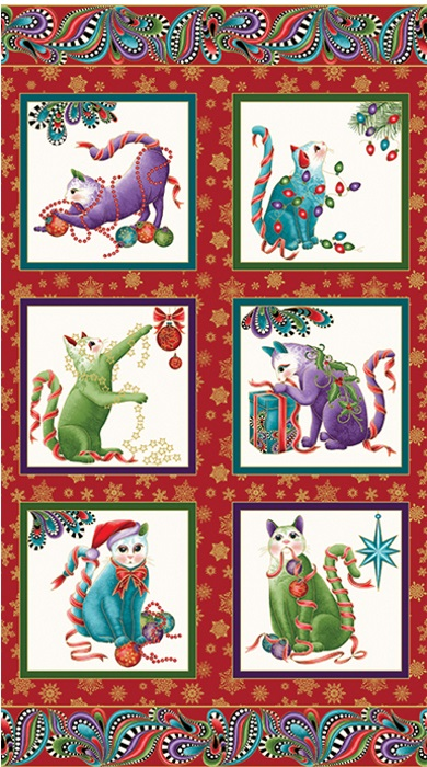 Cat-I-Tude - Catitude - Christmas Paisley Panel - White Background - by Ann Lauer for Benartex