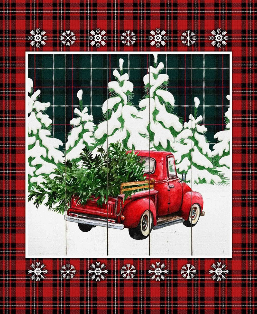 Over the River Red Truck Christmas Panel with Plaid Border