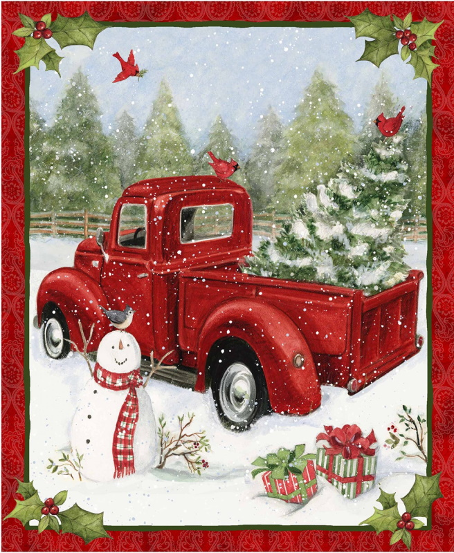 Christmas Fun Red Truck Panel - Truck, Tree and Snowman