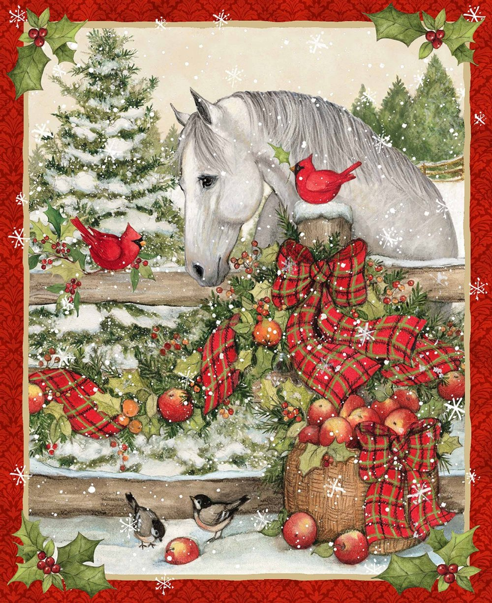 Christmas Horse with Red Plaid Bow Panel by Springs Creative