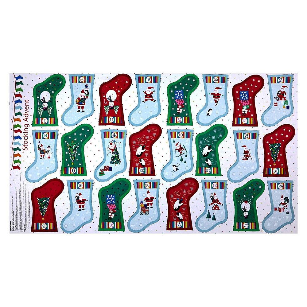 Jolly Santa Stocking Advent - Mini Stocking Calendar - Panel by  Makower UK