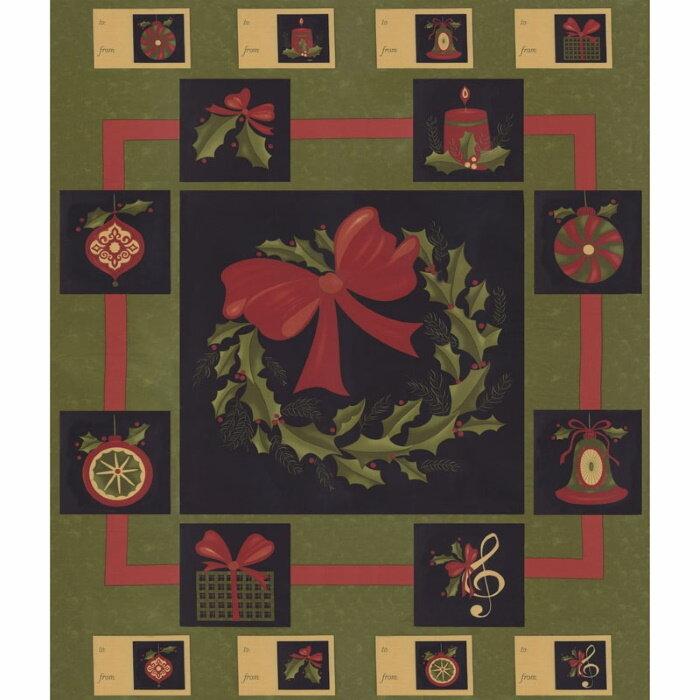 Delightful December Pine Wreath Panel by MODA