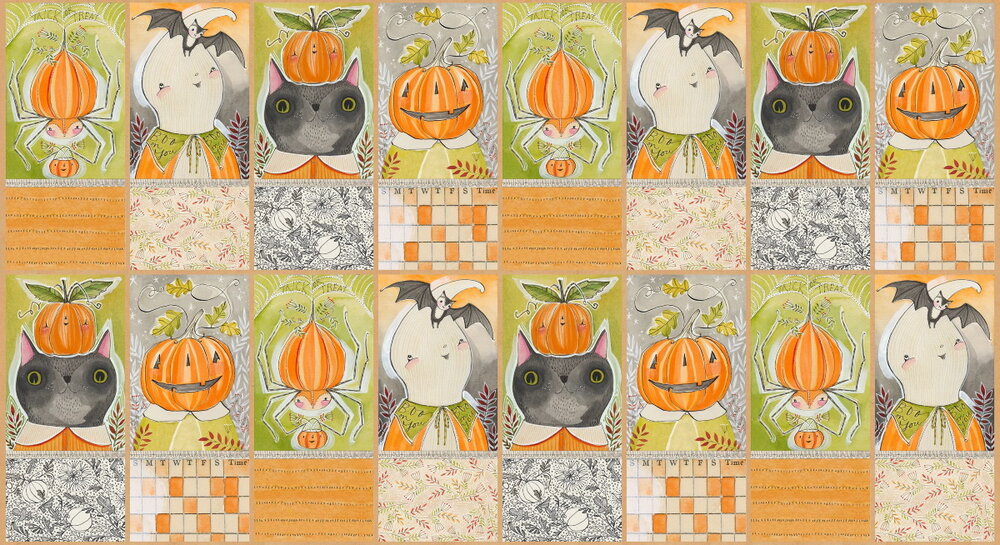 Happy Halloween Quilt Panel by Blend Fabrics