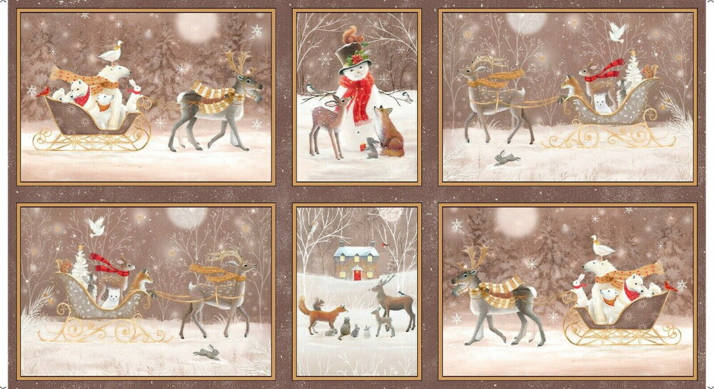Woodland Dream Blocks on Taupe by Quilting Treasures