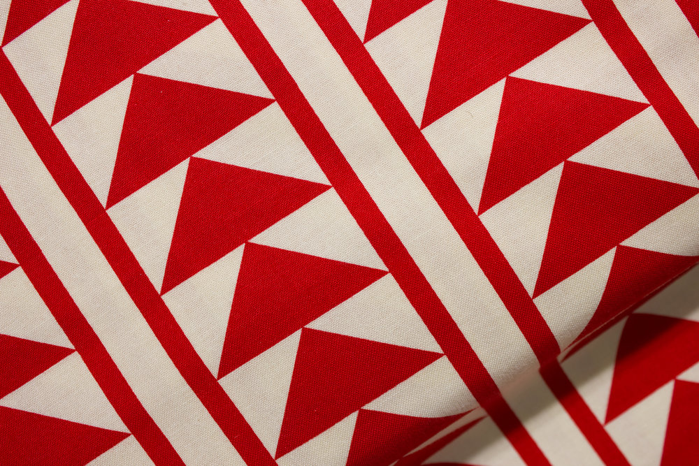 Red Triangles and Stripes on Cream: Sashing Stash for Riley Blake