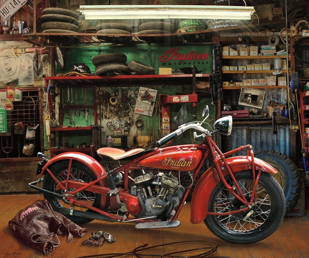 Indian Scout Motorcycle Panel by Riley Blake Designs