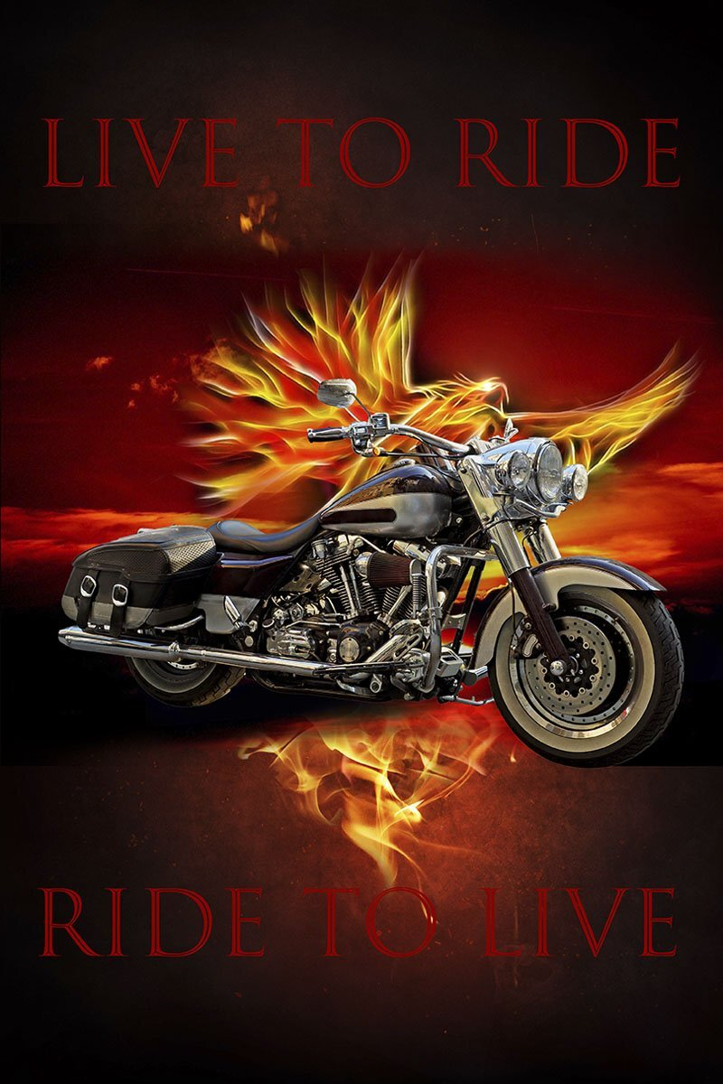 Live to Ride Motorcycle Panel by David Textiles (Harley Lineup)