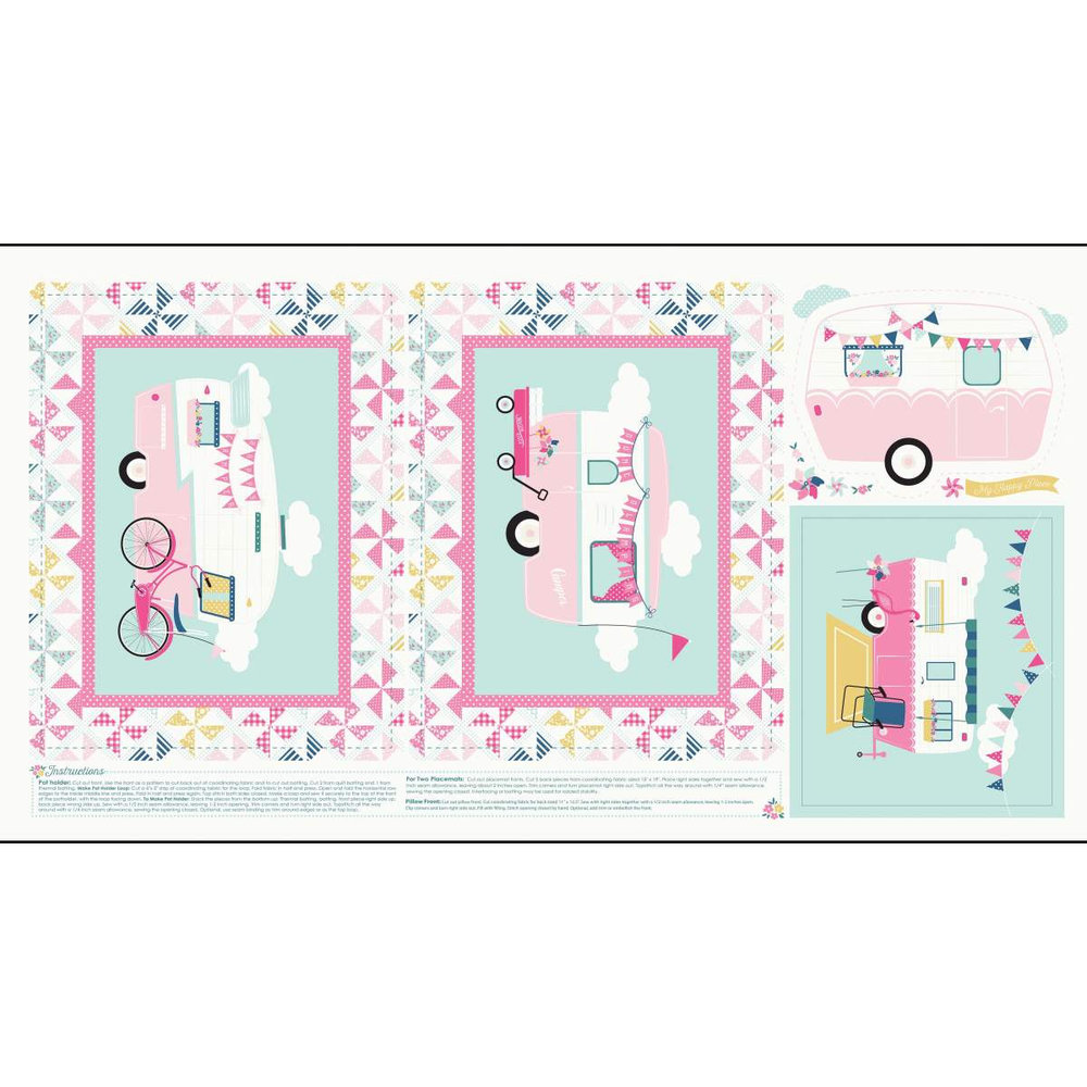Pillow Front, Two Placemats and a PotHolder in Pink: Glamping by Dani Mogstad for Riley Blake Fabrics