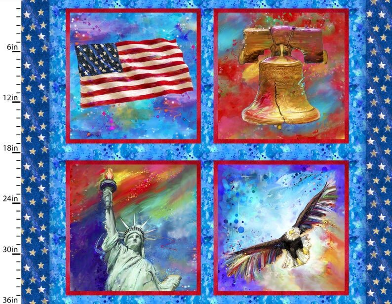Flag, Liberty Bell, Statue of Liberty, Eagle: American Icons by 3 Wishes