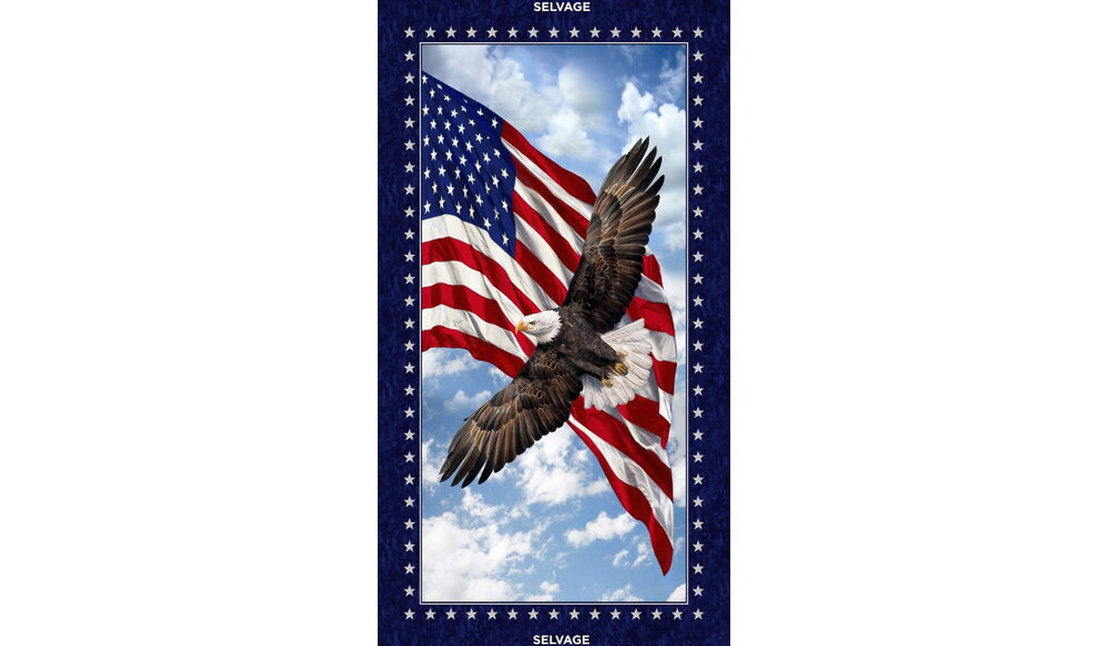 GONE  --  Eagle with Flag Patriotic Panel by Timeless Treasures