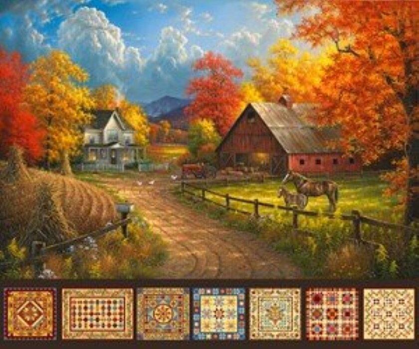 Country Pastime Beautiful Fall Scene Panel by Northcott Fabrics