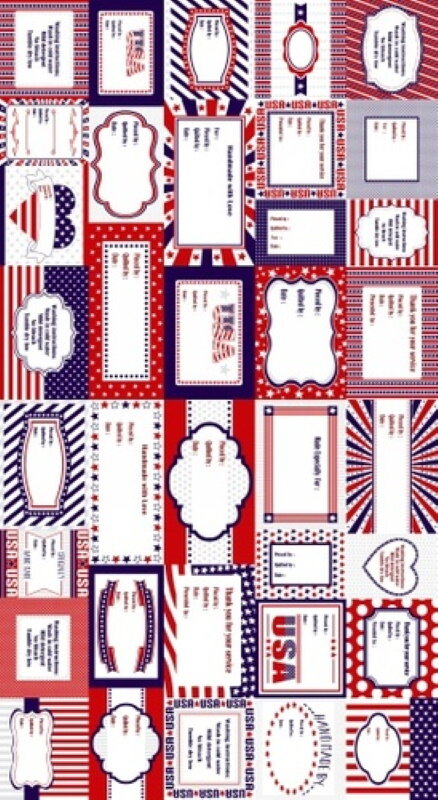 Red, White and Starry Blue Labels Panel by Studio E