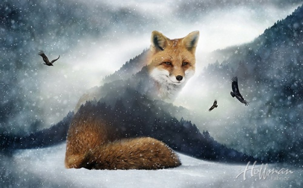 Call of the Wild:  Fox Panel by Hoffman Spectrum Prints