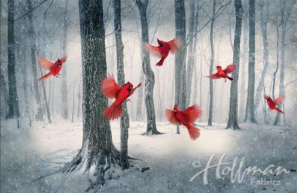 Call of the Wild: Cardinals in Winter - Hoffman Digital Print Panel