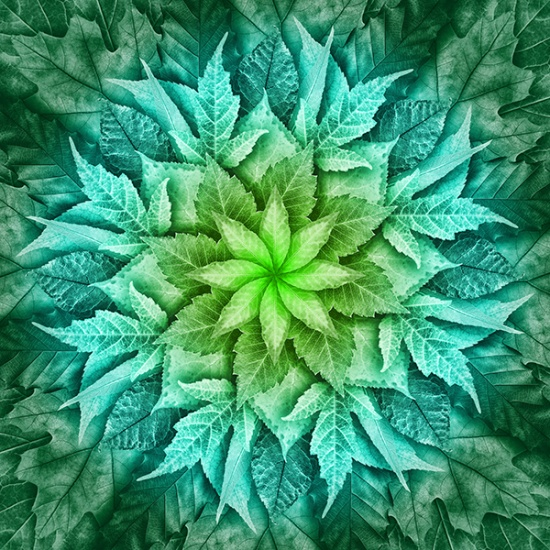 Mint Dream Big Leaf Quilt Panel by Jeanie Sumerall-Ajero
