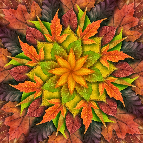Autumn Dream Big Leaf Quilt Panel by Jeanie Sumerall-Ajero