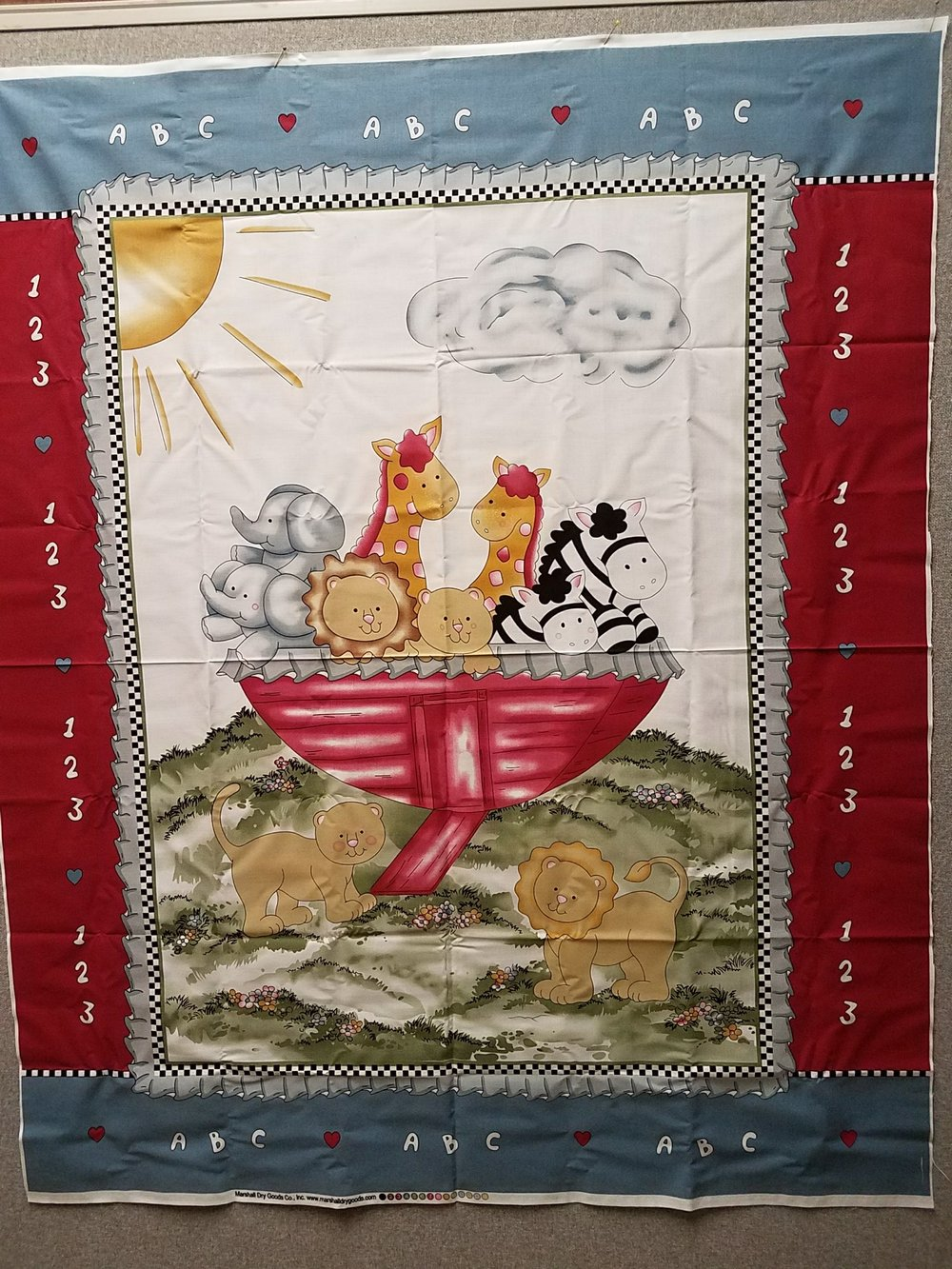 Noah with Numbers and Alphabet on Border Baby Quilt Panel