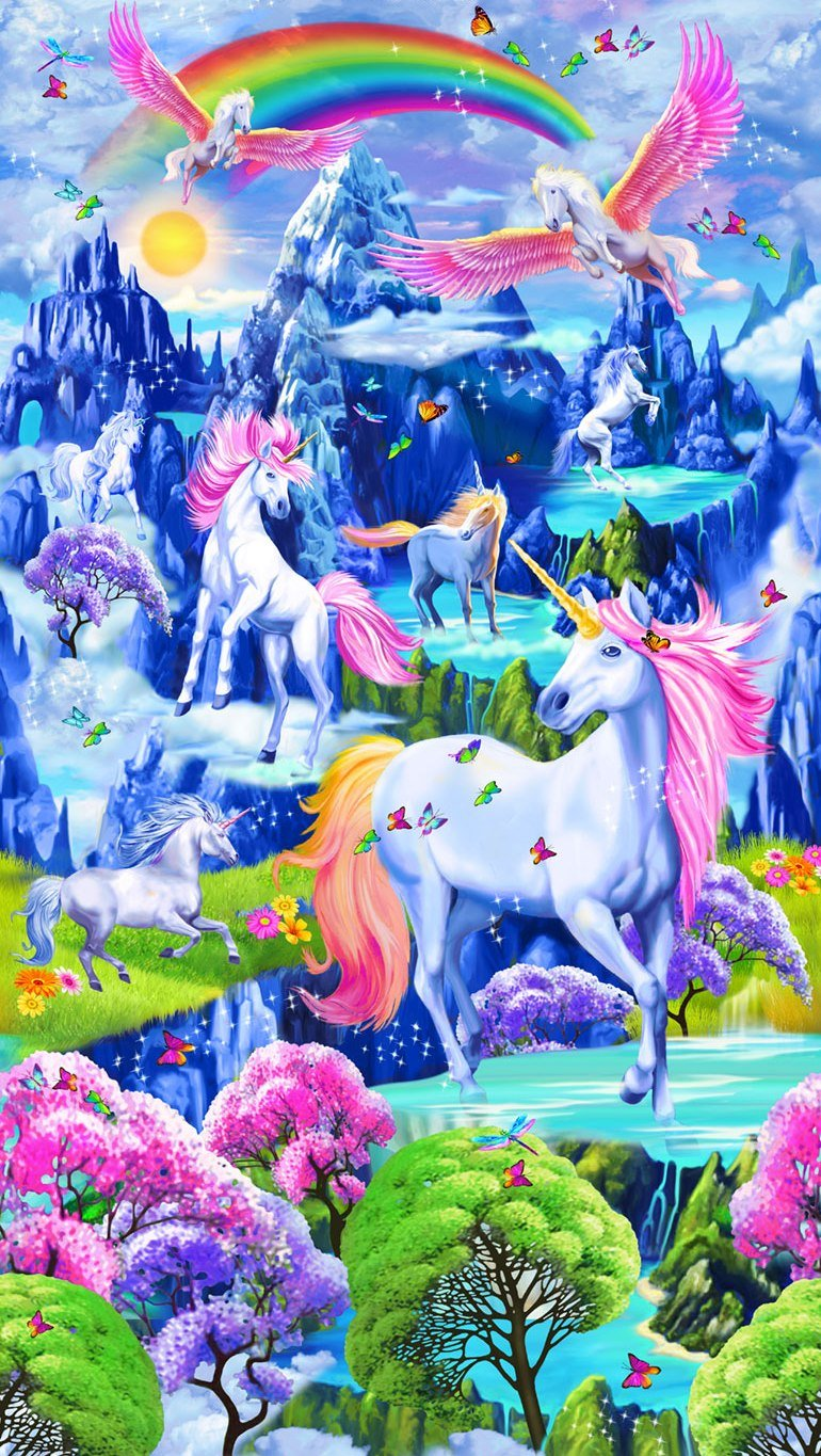 Colorful Unicorns by Michael Searle for Timeless Treasures
