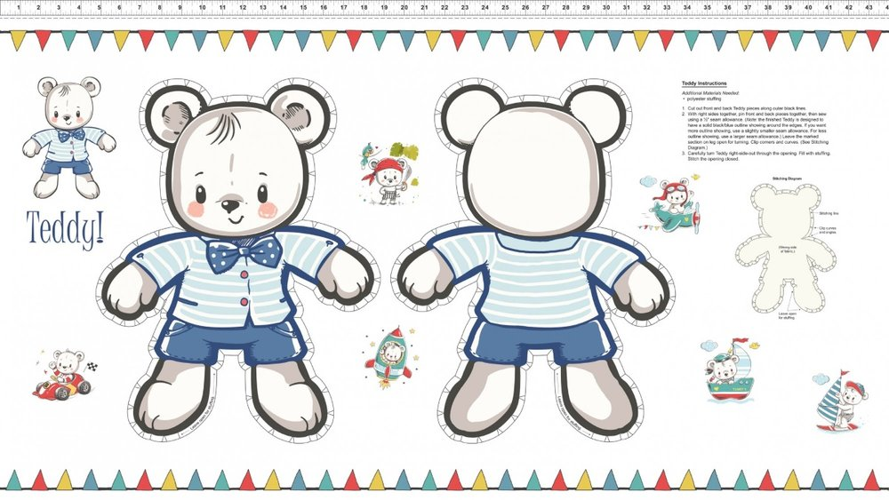 Teddy's Great Adventure: Teddy Bear Panel by In the Beginning Fabrics