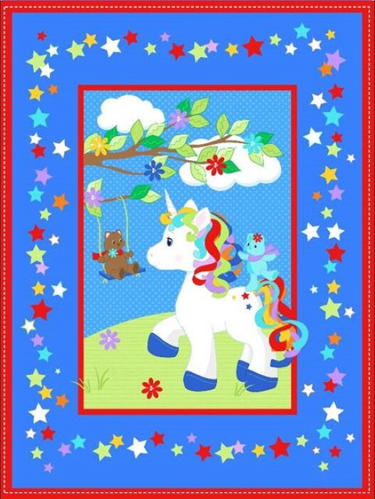 Unicorn Surrounded by Blue and Red Panel