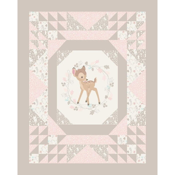 Bambi Cheater Panel in Taupe and PInk by Disney for Springs Creative