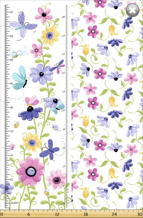 Butterfly Growth Chart Panel by Susybee Fabrics