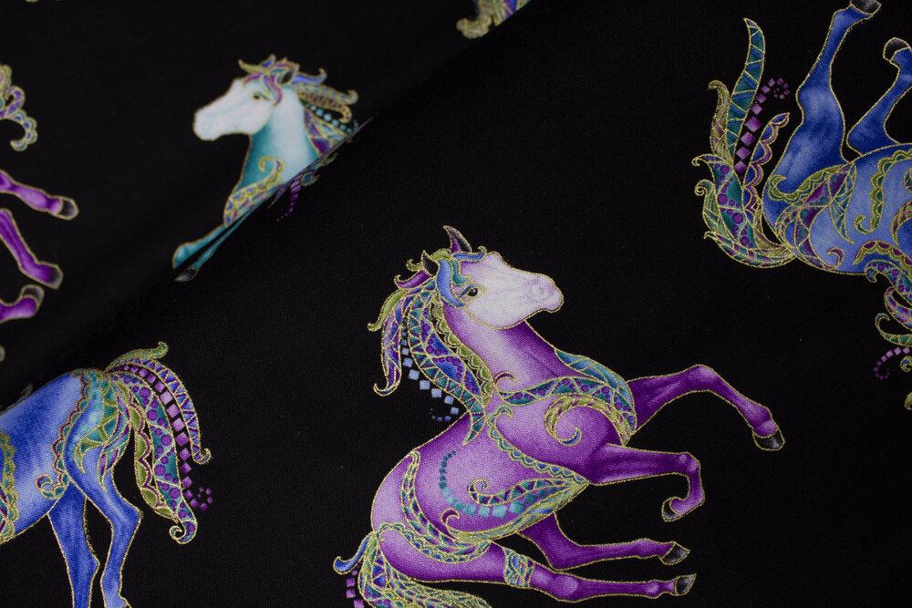 Reigning Horses on Black - *HORSEN AROUND* by Ann Lauer for Benartex