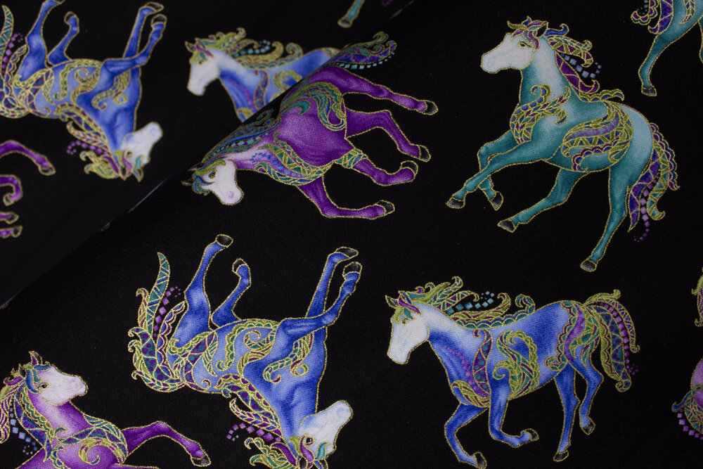 Small Reigning Horses on Black - *HORSEN AROUND* by Ann Lauer for Benartex
