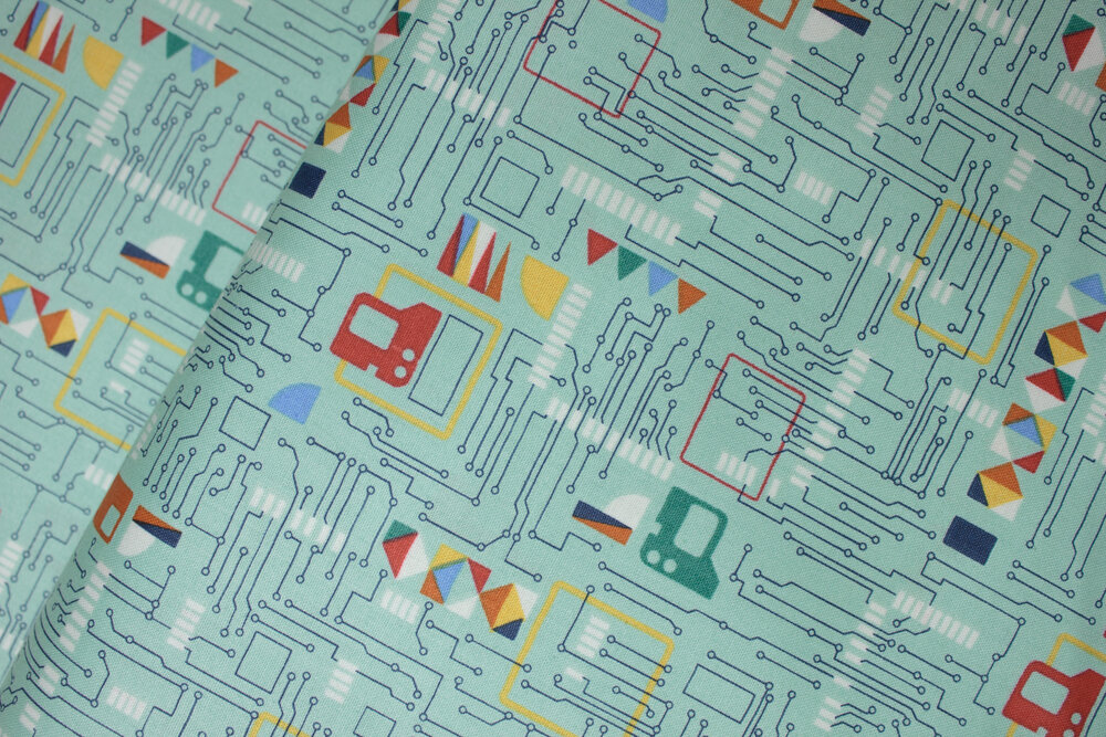 SPECIALTY FABRICS ROOM: Circuits: Galaxy Circuit Board by the Henley Studio for Makower UK