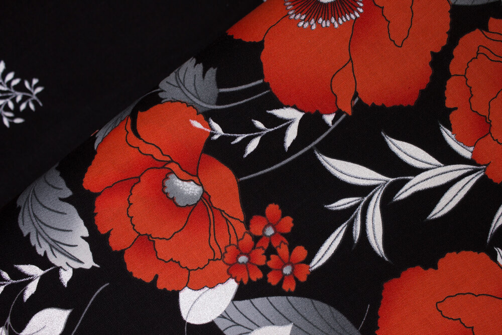 SPECIALTY FABRICS ROOM: Pearlescent Red Poppies Border on Black:  Poppy Promenade by Greta Lynn for Kanvas Studio in association with Benartex