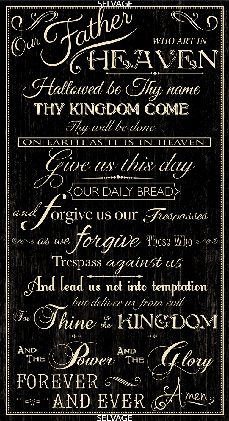 The Lord's Prayer on black by Timeless Treasures