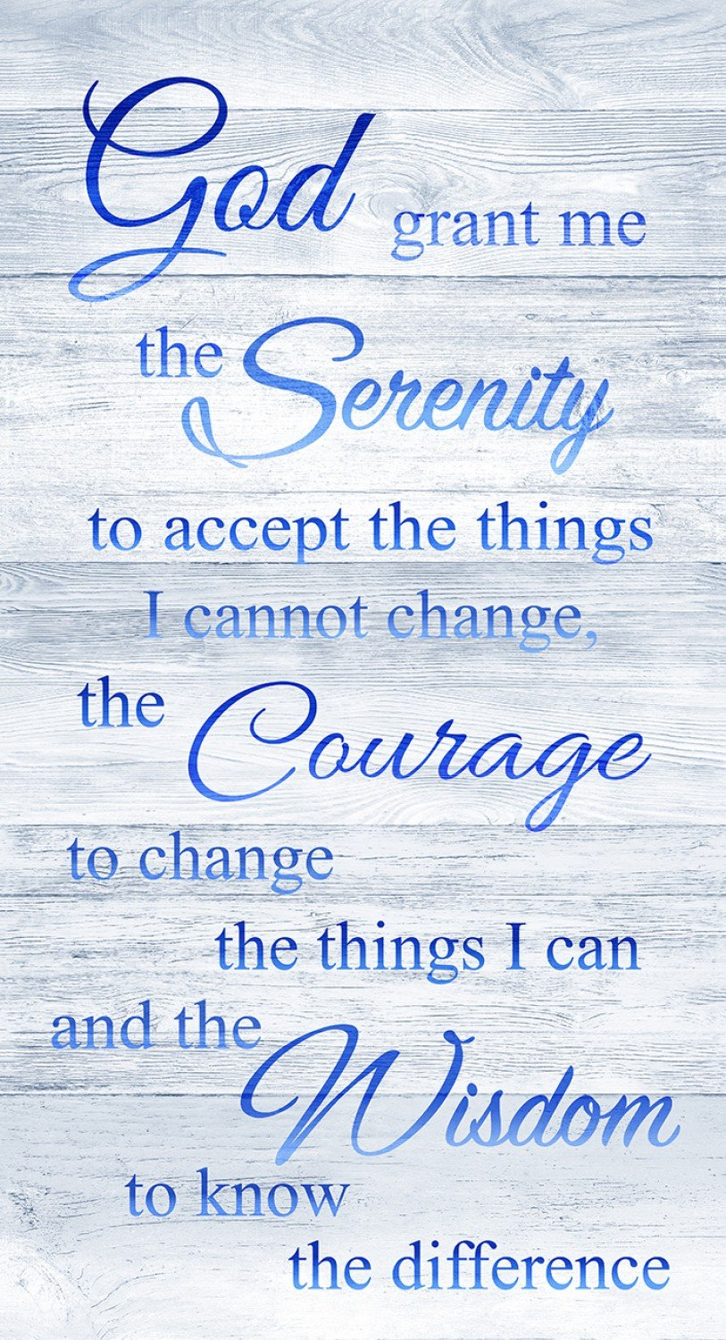 Serenity Prayer on Blue by Timeless Treasures