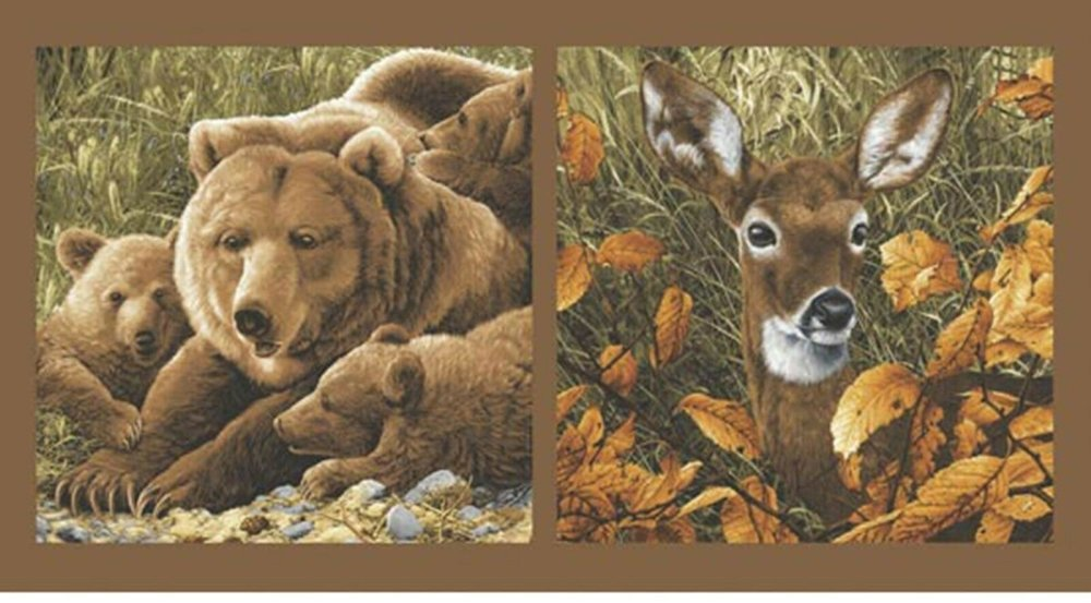 Bear and Deer Panel by Andover