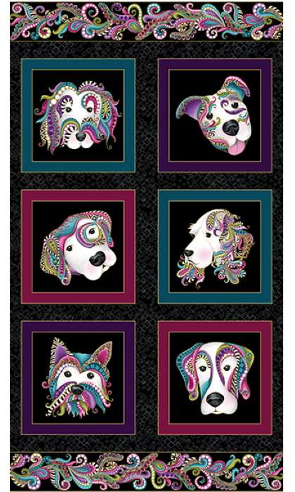 Dog-On-It on Black - by Ann Lauer for Benartex Quilt Panel