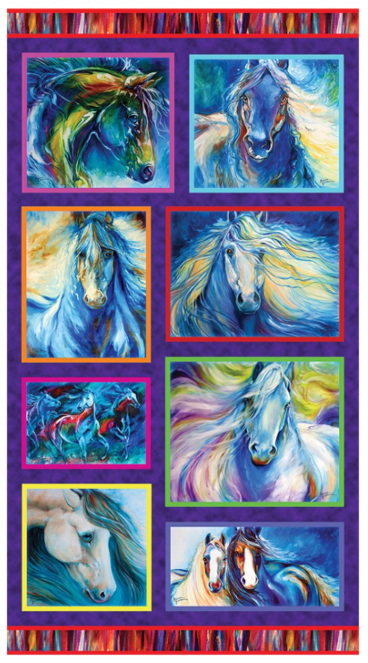 Painted Horse Panel by Marcia Baldwin for Benartex