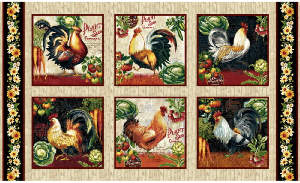Farmer's Market Chickens with Produce Panel by Geoff Allen for Studio E