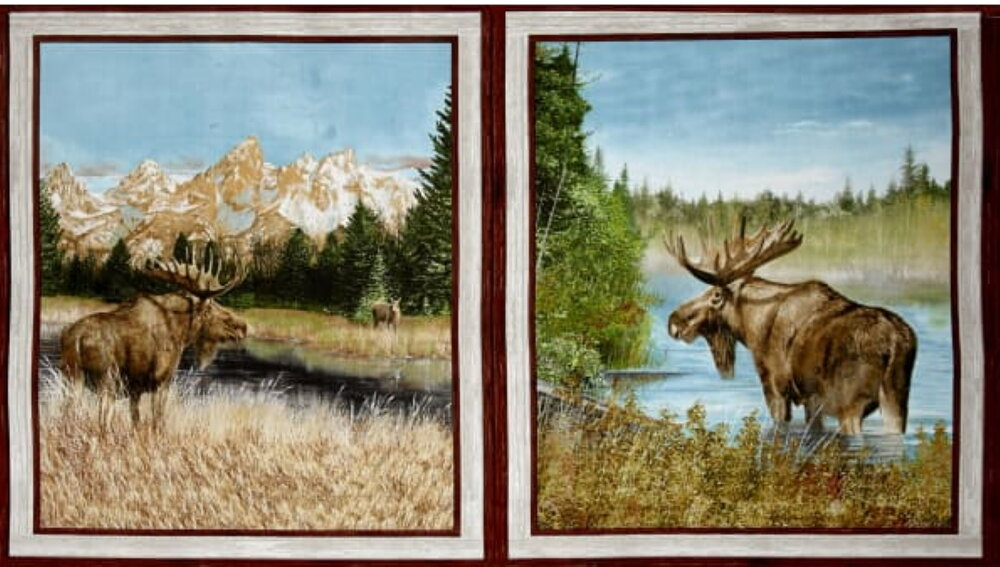 By Water's Edge - Two Moose Panels by Quilting Treasures