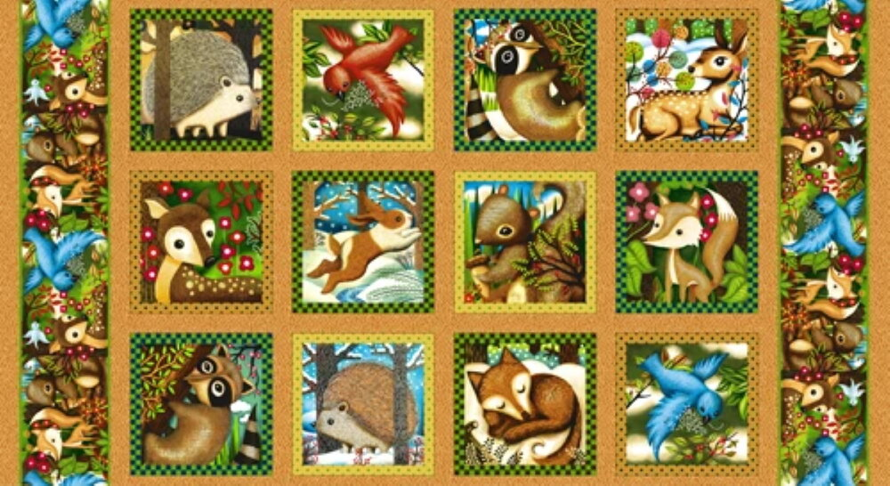 Woodland Friends Panel by Charlie Zabarte for Paintbrush Studios