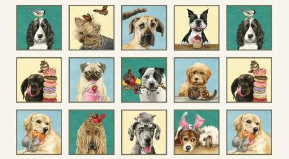 Doggie Drama Panel by Tracy Lizotte for Elizabeth's Studios
