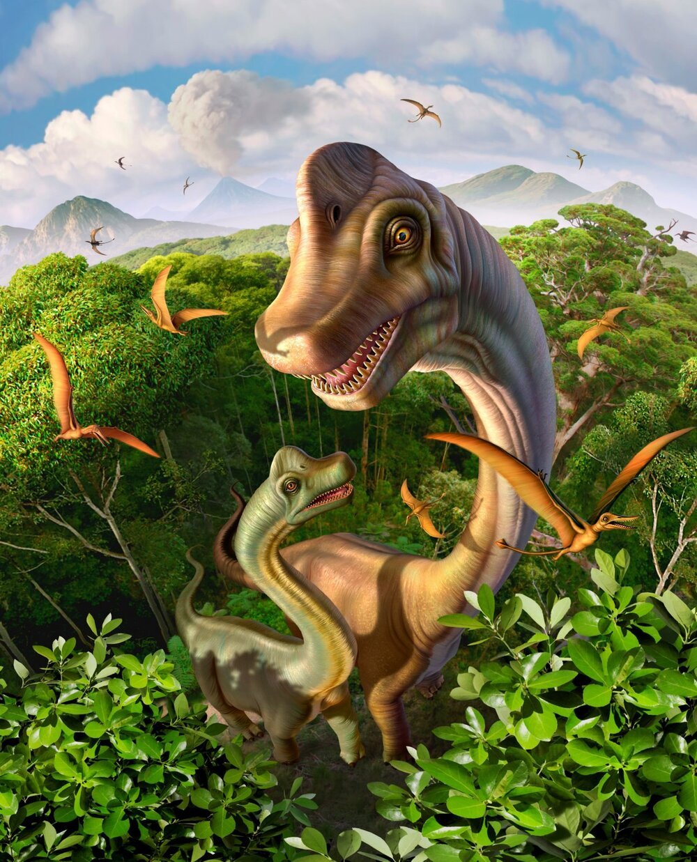 Brachiosaurus Dinosaurs by David Textiles
