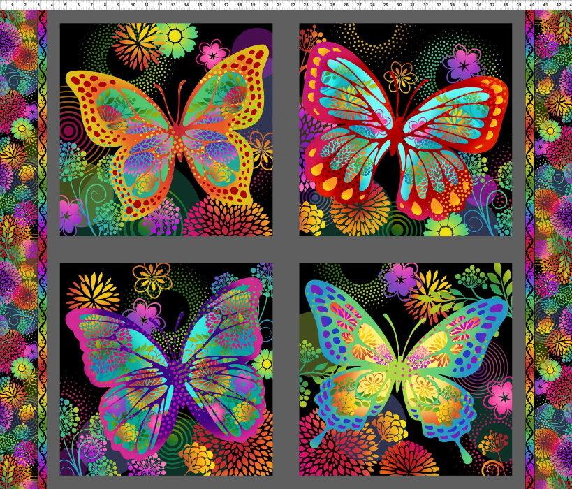 Unusual Garden on Black - Bright Butterflies by In the Beginning Fabrics