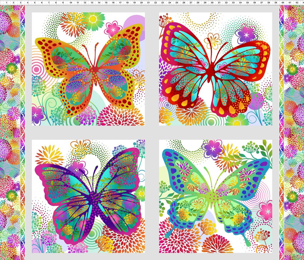 Unusual Garden on White - Bright Butterflies by In the Beginning Fabrics