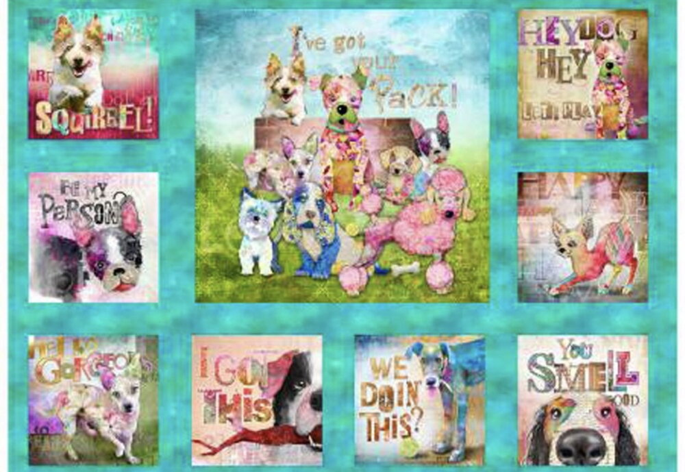 Good Dogs Too by Connie Haley for 3 Wishes Fabrics