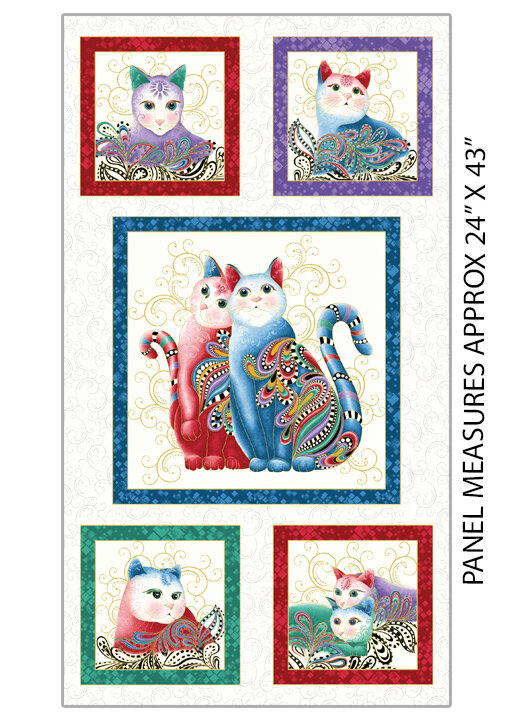 Catitude 2: Purrfect Together on White Panel by Ann Lauer for Benartex