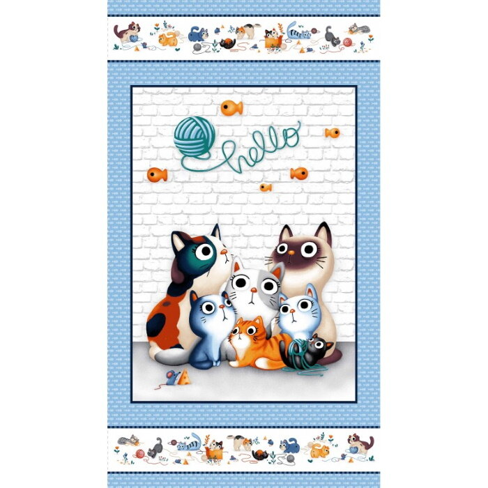 Hello Feline Friends Panel by The Little Red House for Michael Miller Fabrics