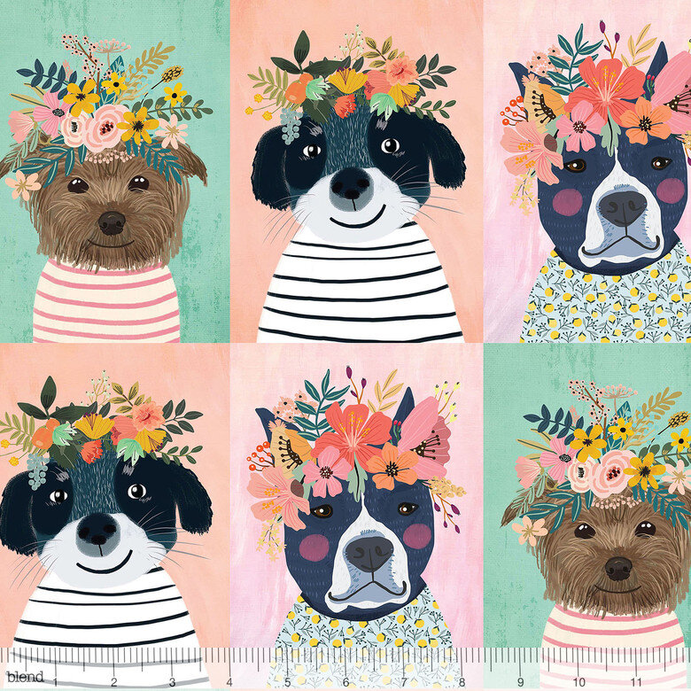 GONE -- Floral Pets - Light Dogs Panel - by Mia Charro for Blend Fabrics