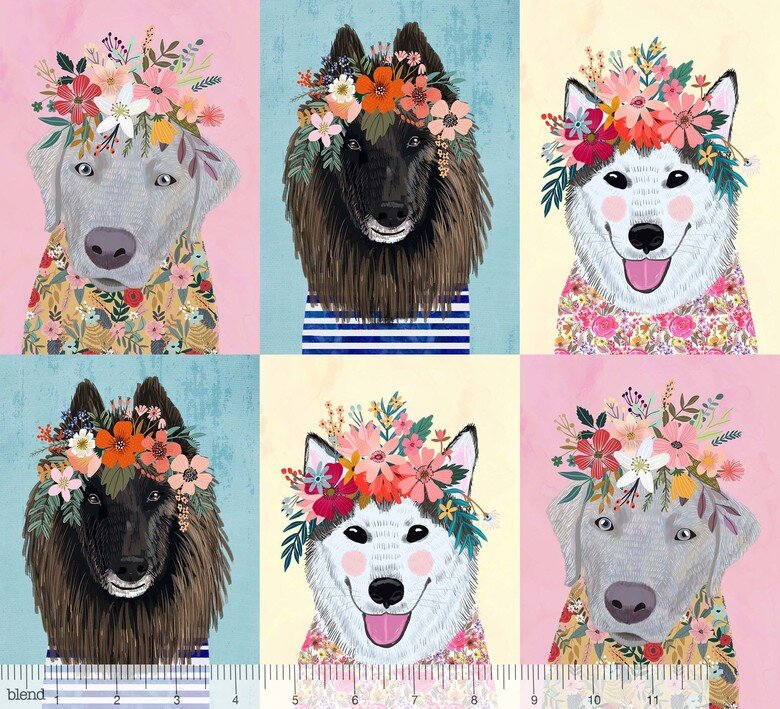 Floral Pets - Dark Dogs Panel by Mia Charro for Blend Fabrics