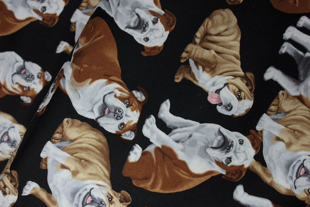 SPECIALTY FABRICS ROOM: Packed Bulldogs on Black by Timeless Treasures